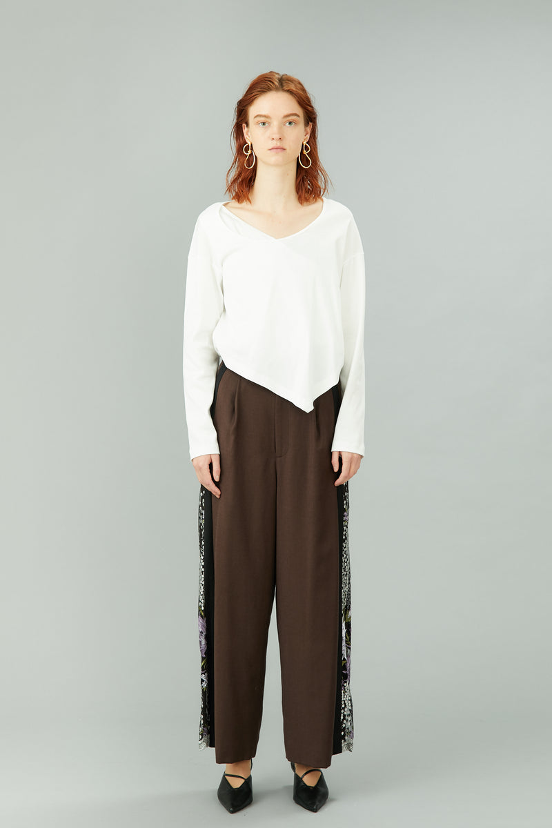 framed flower trousers (brown)