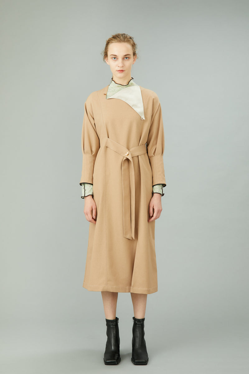 tack sleeve dress with antique shell buttons (beige)