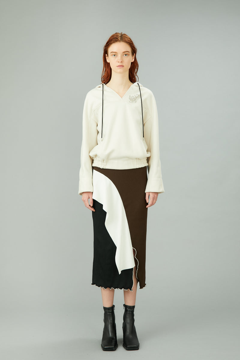 bi-color rib skirt (black / brown)