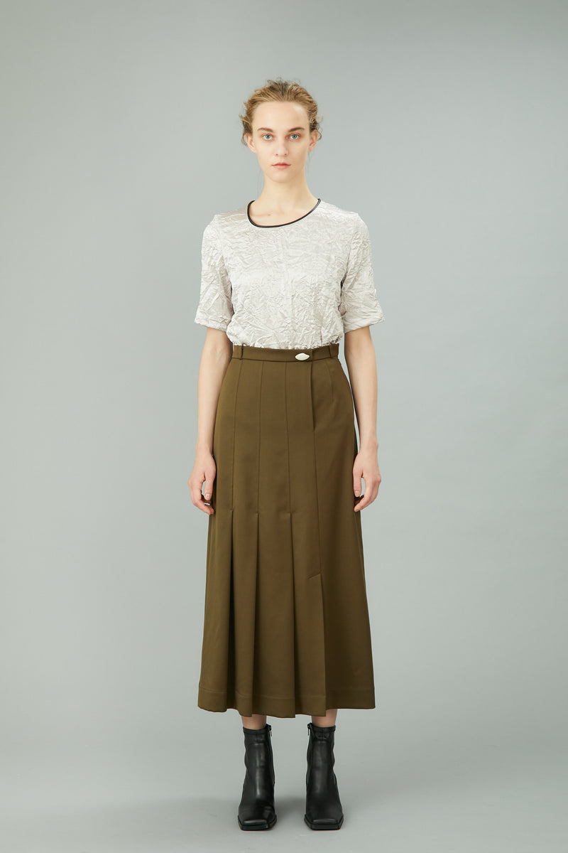 asymmetry pleats skirt (khaki)