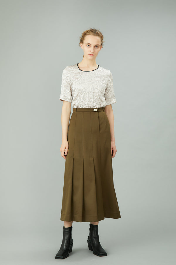 MURRAL asymmetry pleats skirt (khaki)