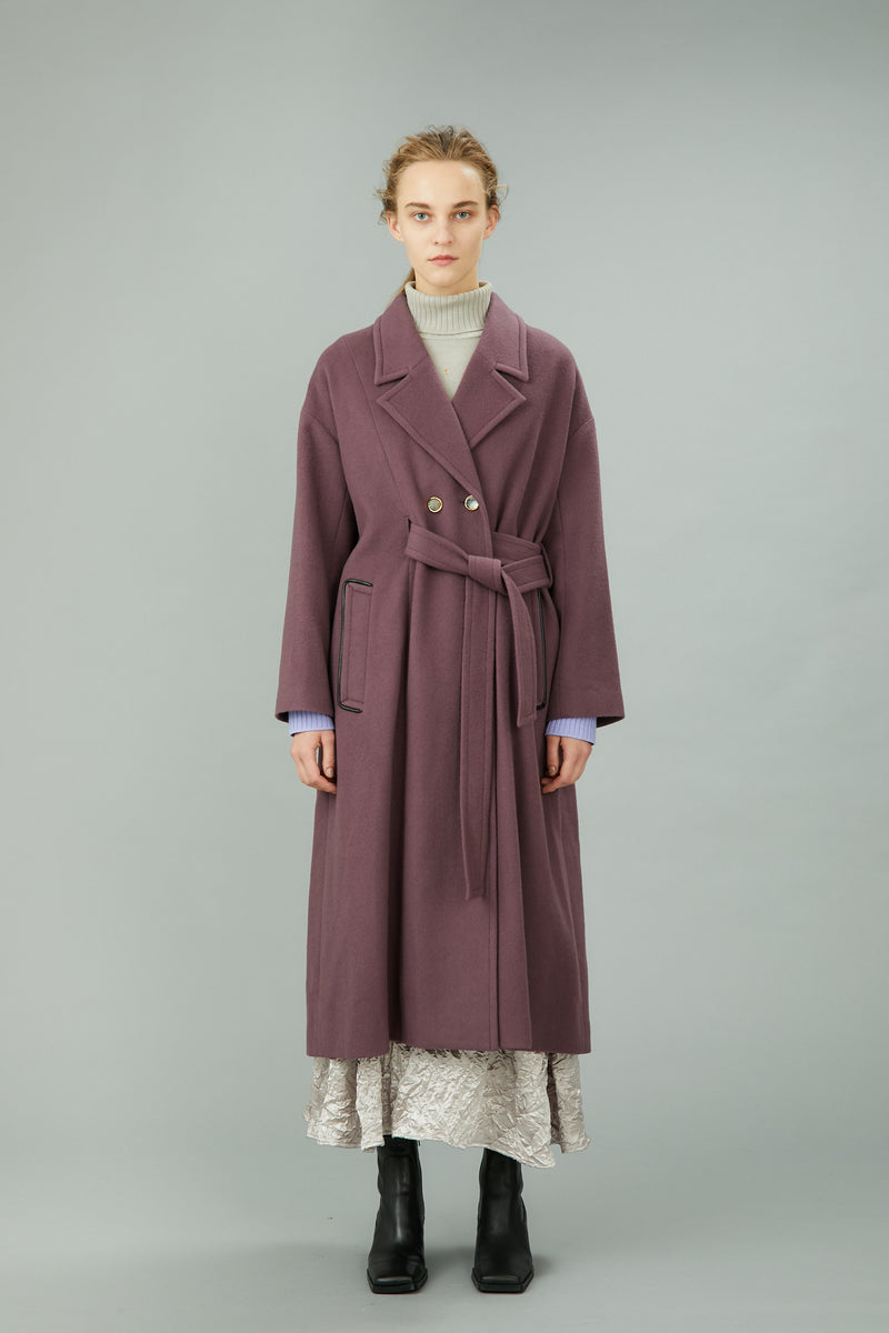 wool long gown coat (purple)