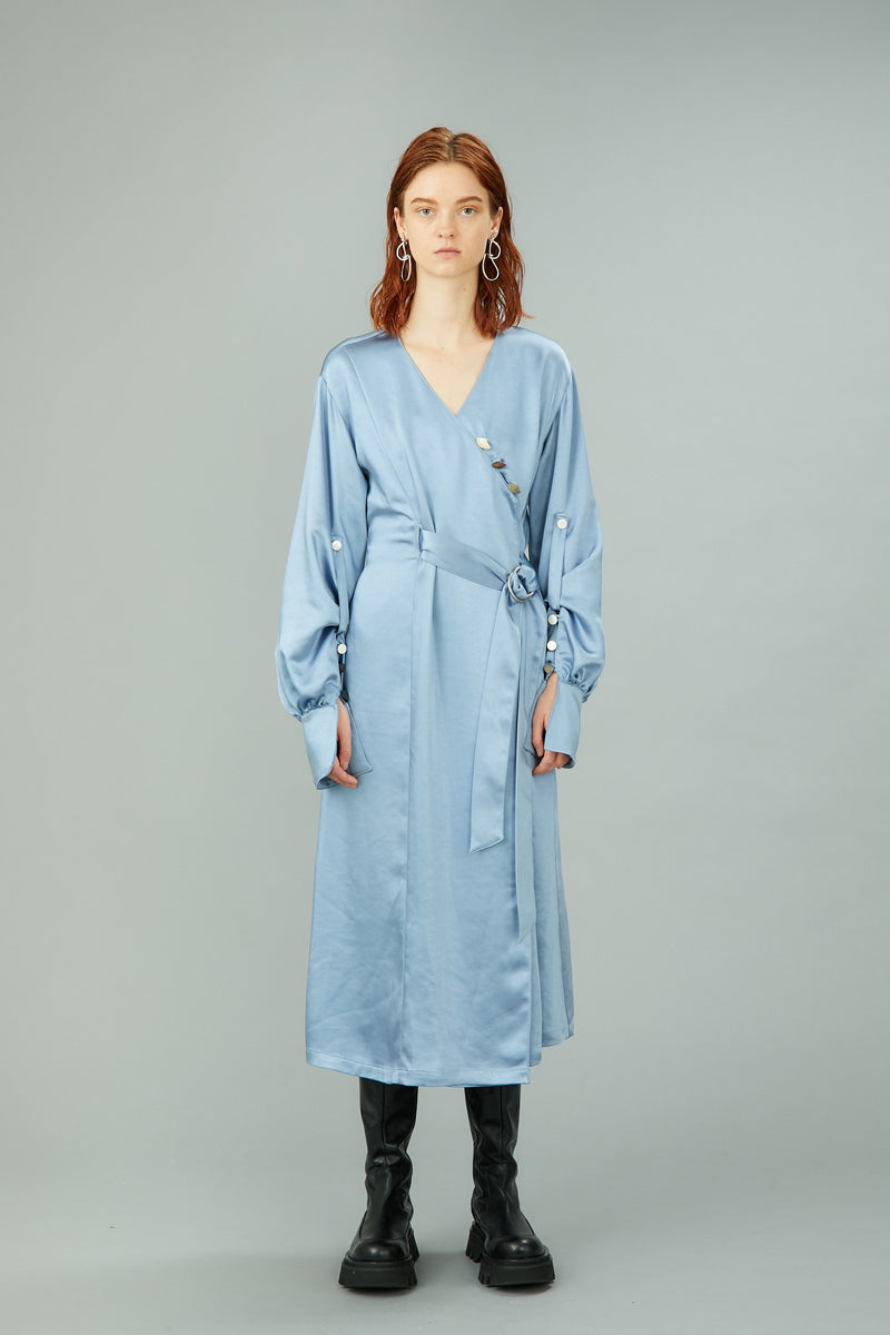 glossy smooth satin dress (light blue)
