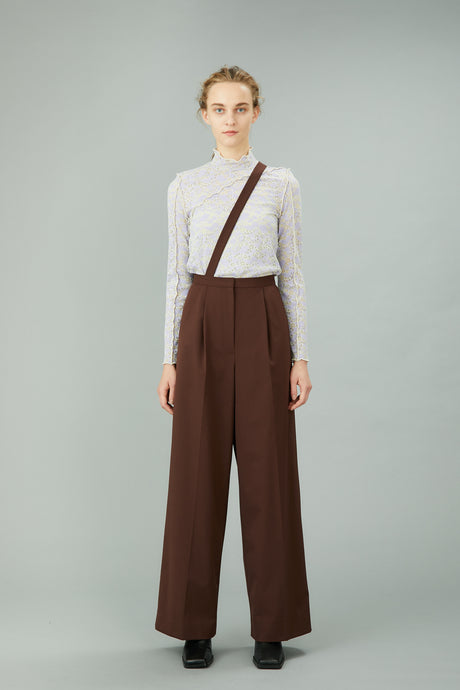 wide trousers with strap (brown)