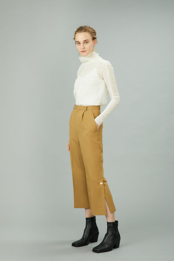 MURRAL hem slit trousers with antique shell buttons (beige)