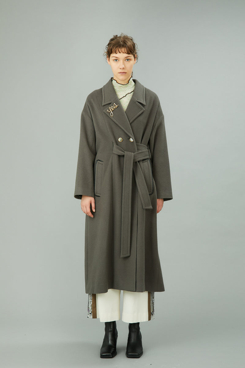 wool long gown coat (khaki)