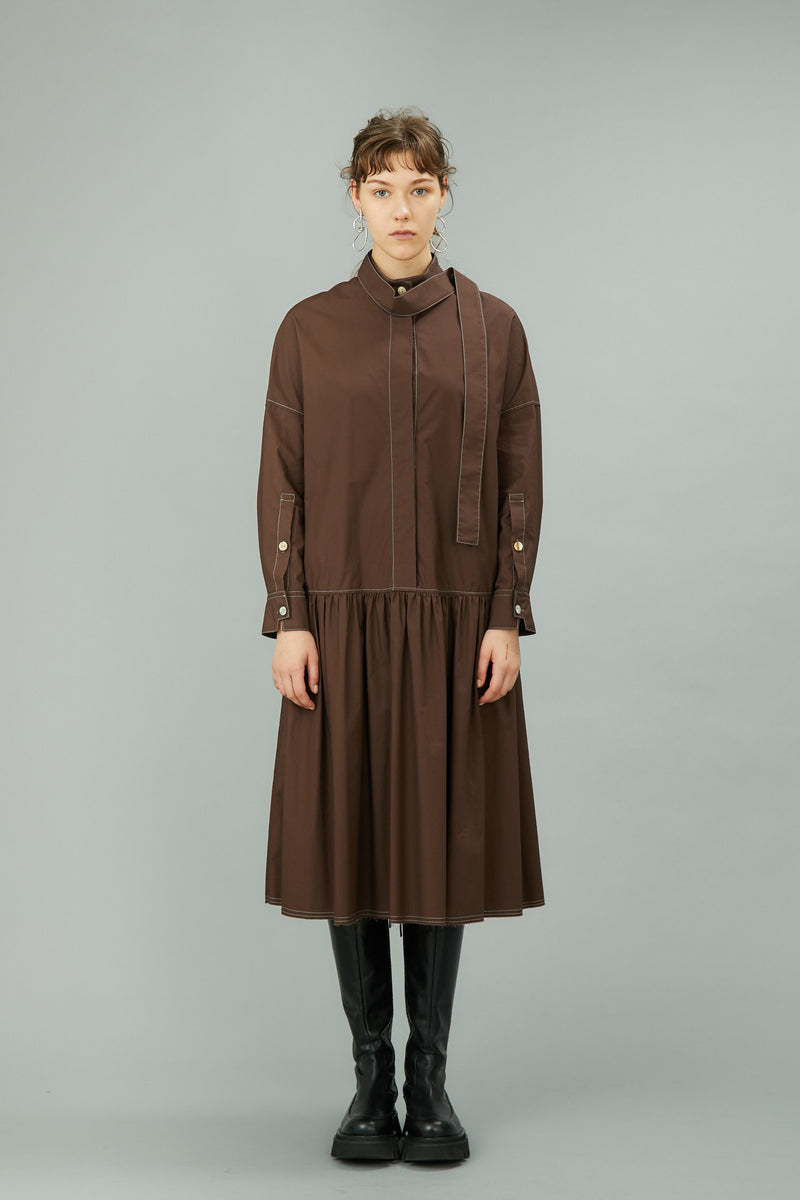 low waist gather dress with bow (brown)