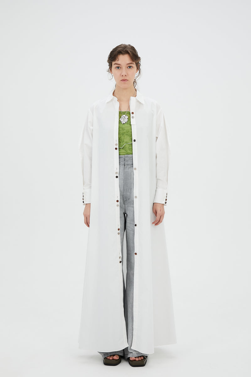 Oversized long shirt dress (White)
