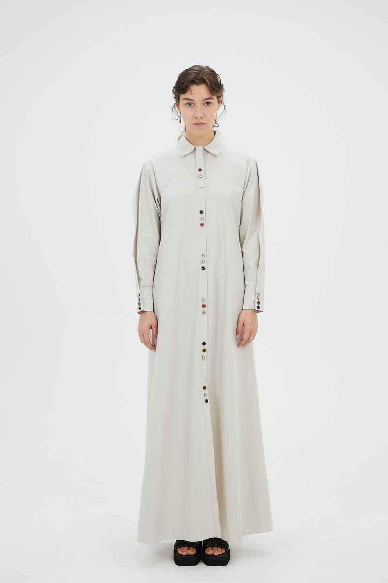 Oversized long shirt dress (Light gray)