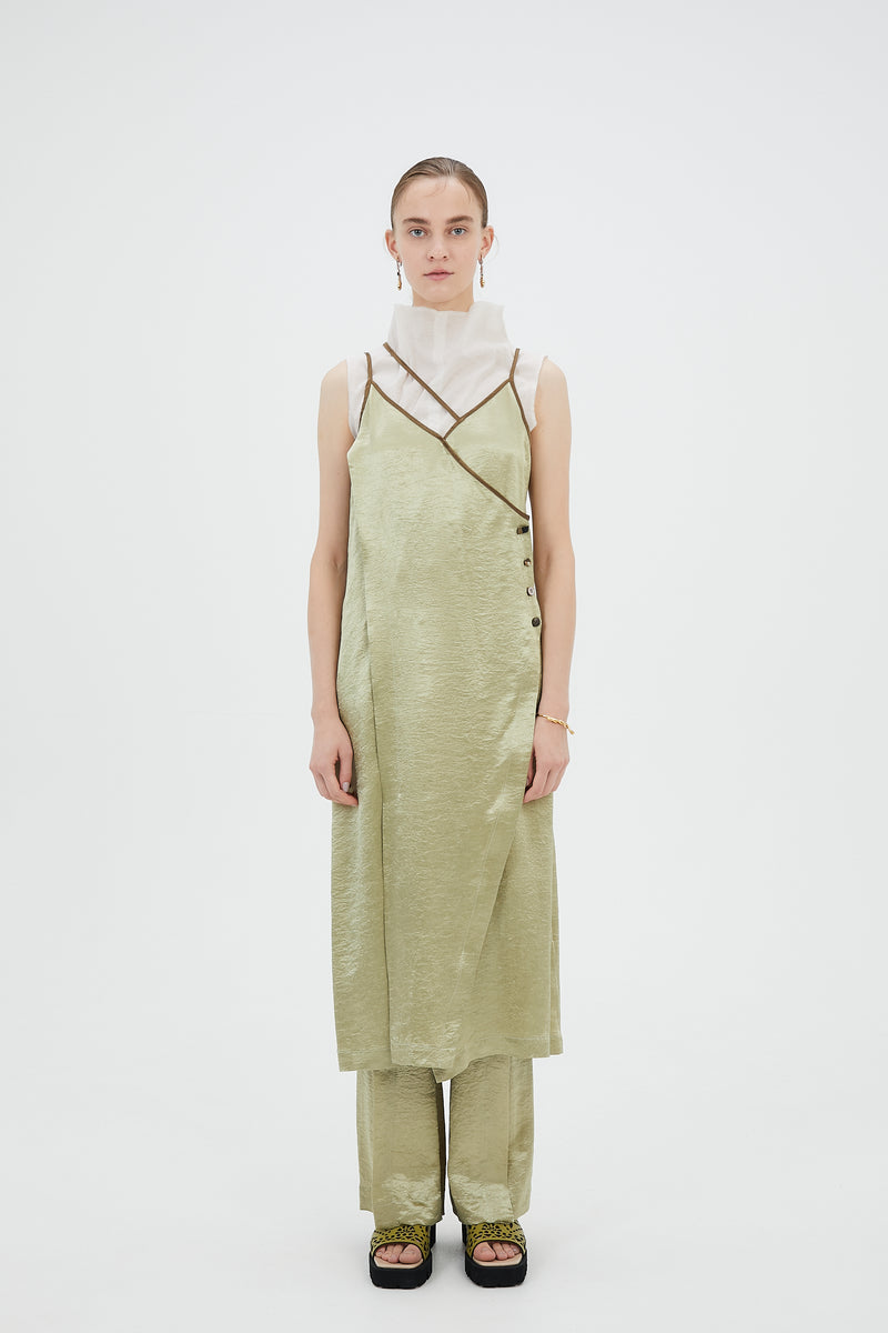 wrinkle camisole dress (light green)