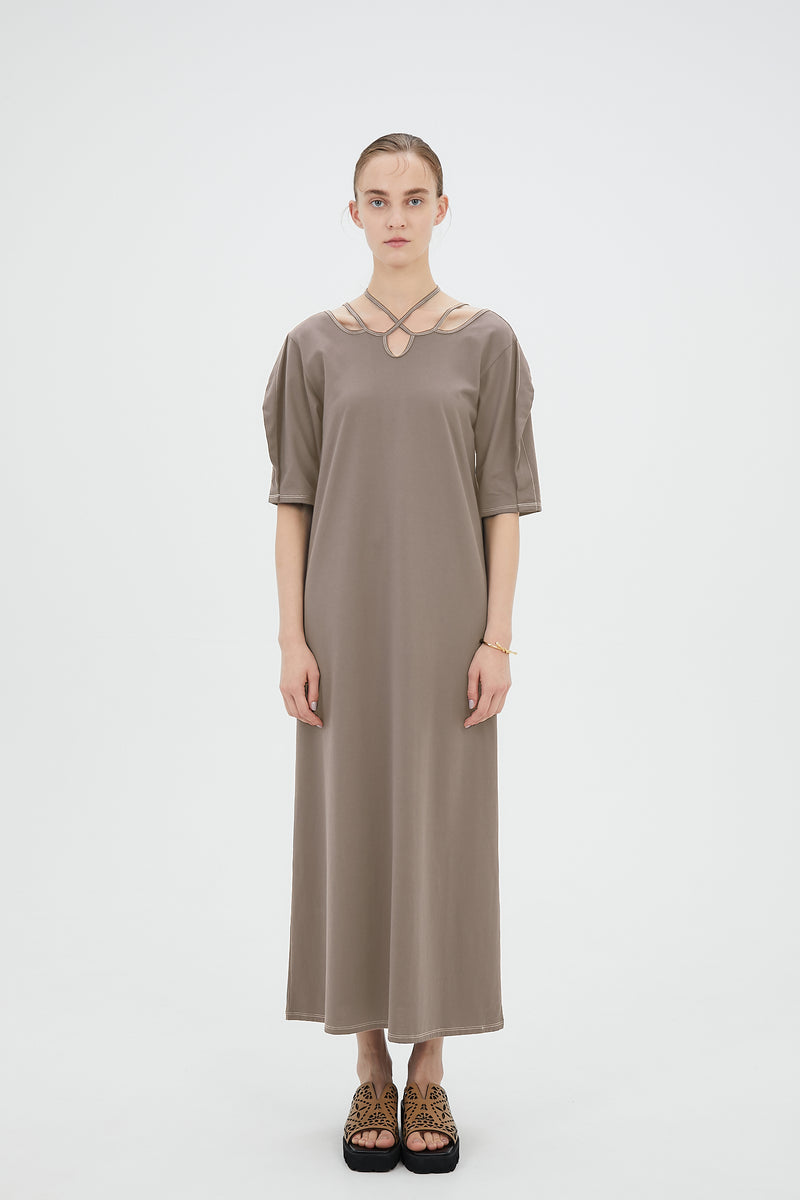 Ivy halfsleeve dress (Smoky latte)