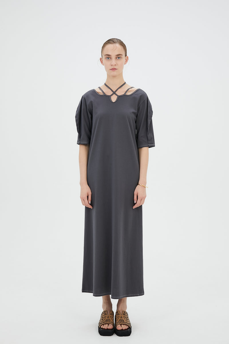 Ivy halfsleeve dress (Dark gray)