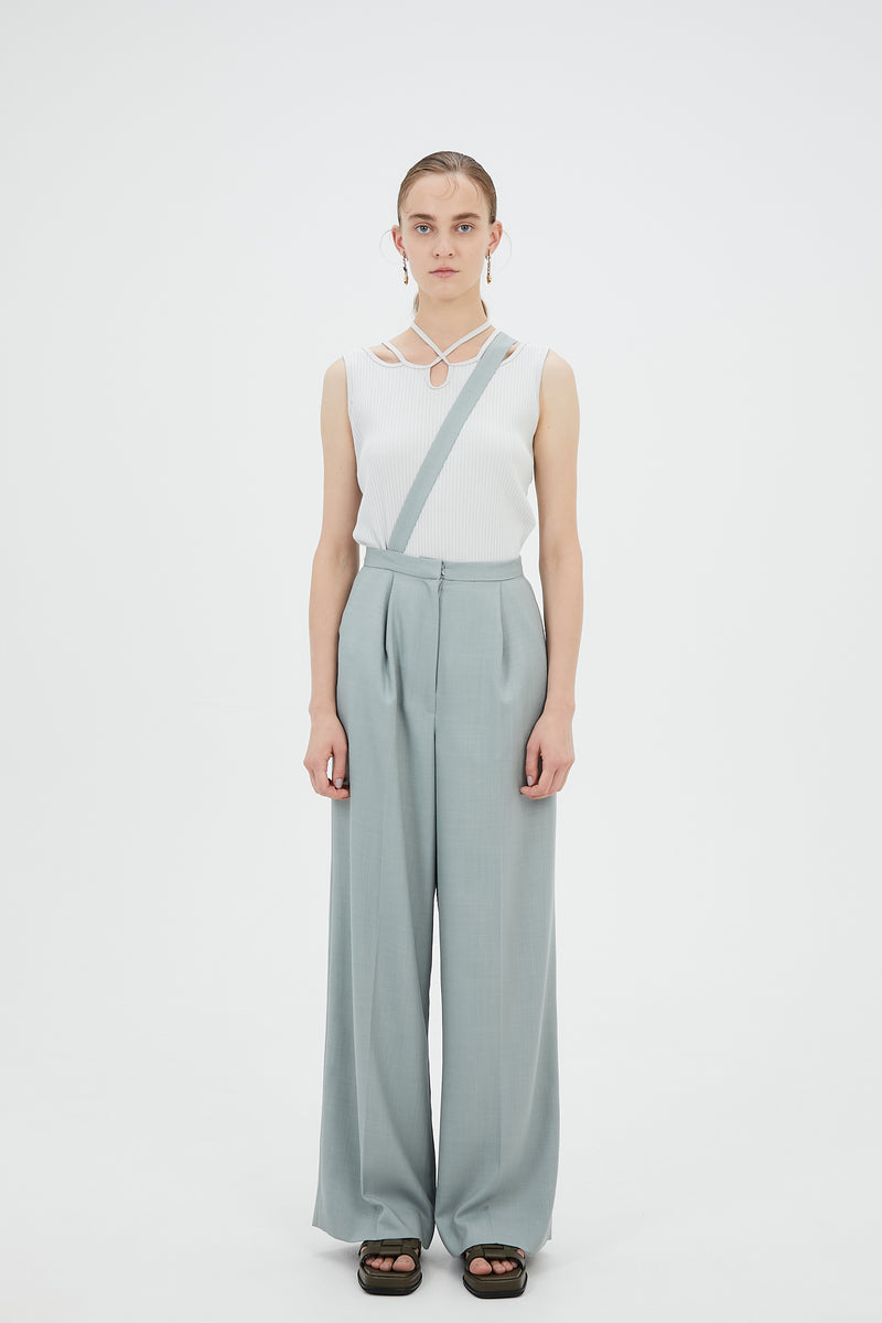 Wide trousers with strap(Light green)