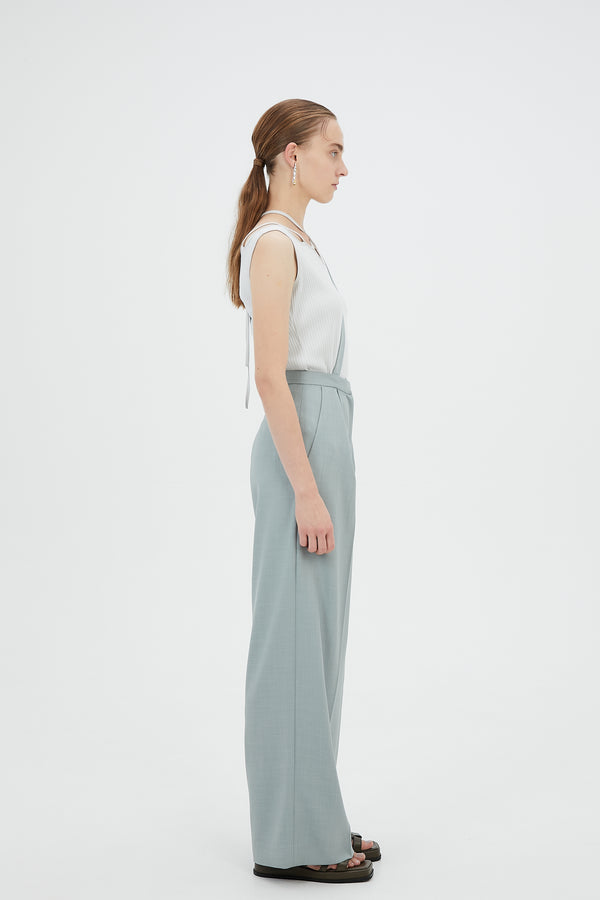 MURRAL Wide trousers with strap(Light green)