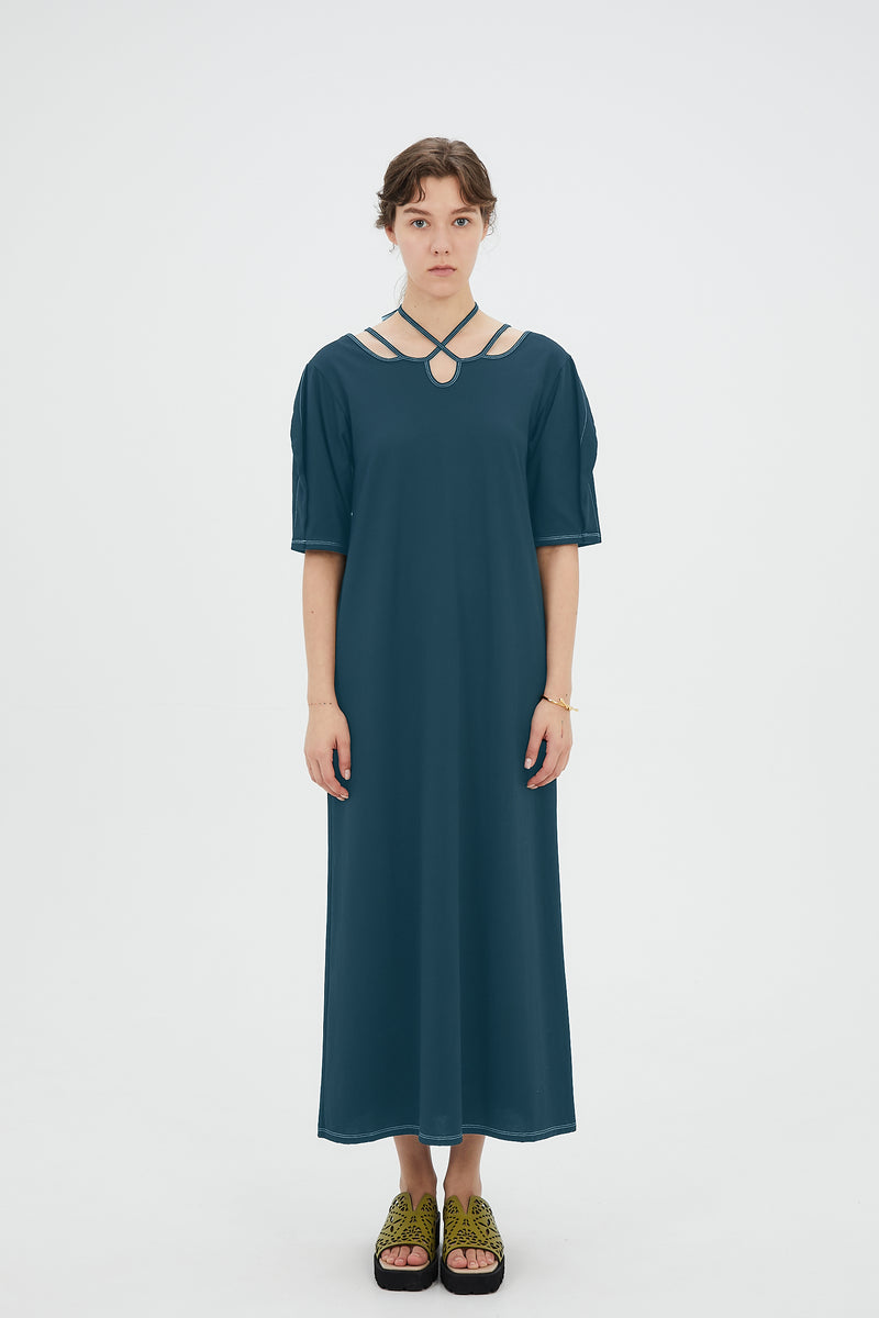 Ivy halfsleeve dress (Lake blue)
