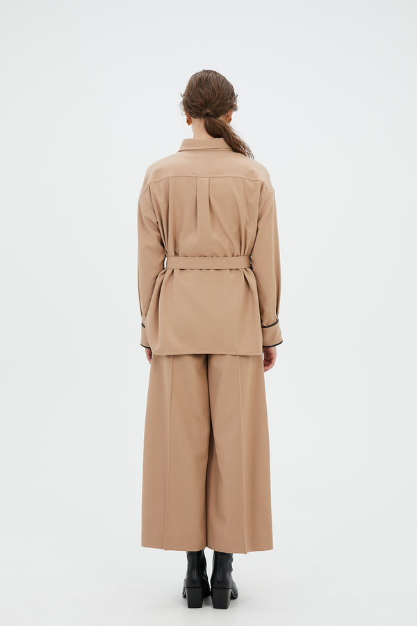 MURRAL wide trousers with antique shell buttons (beige)