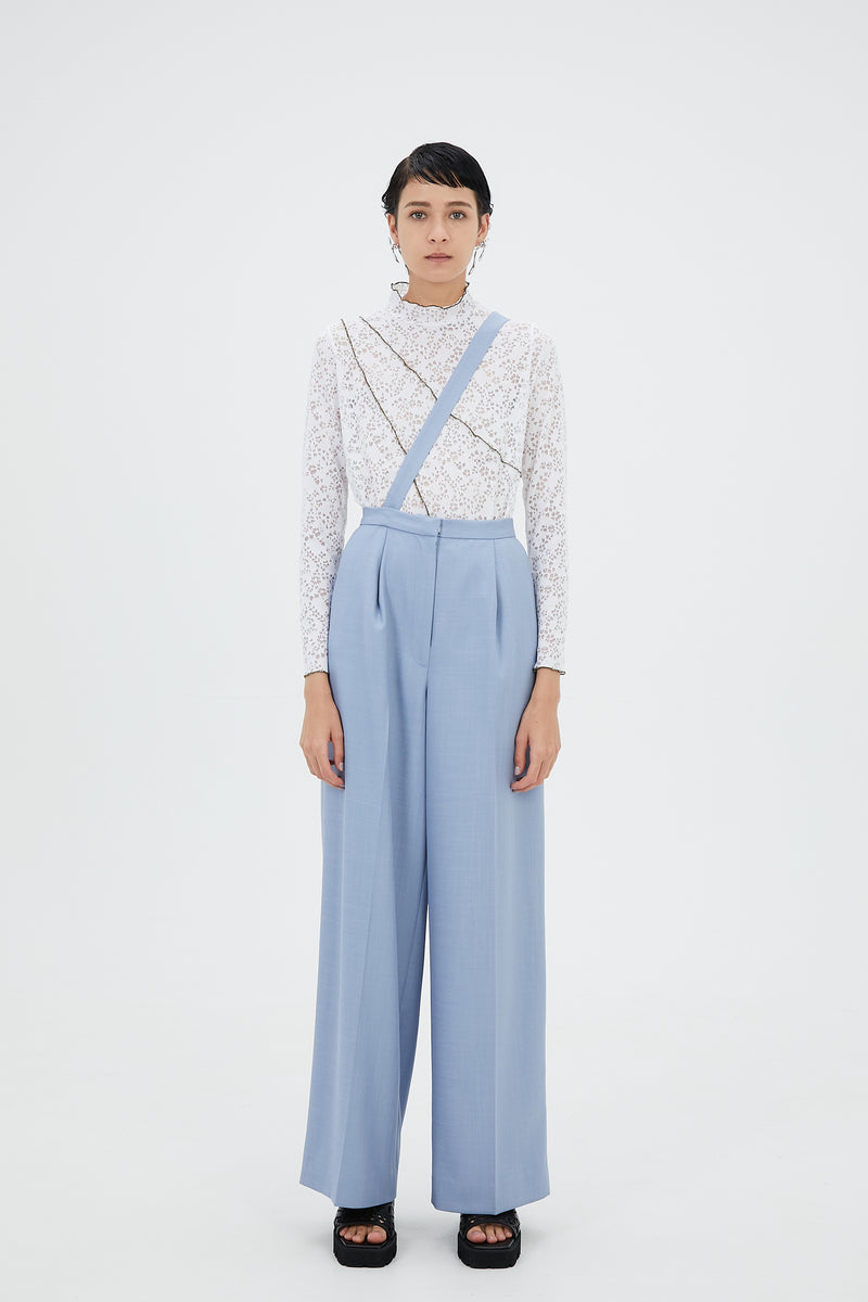 Wide trousers with strap(Light blue)