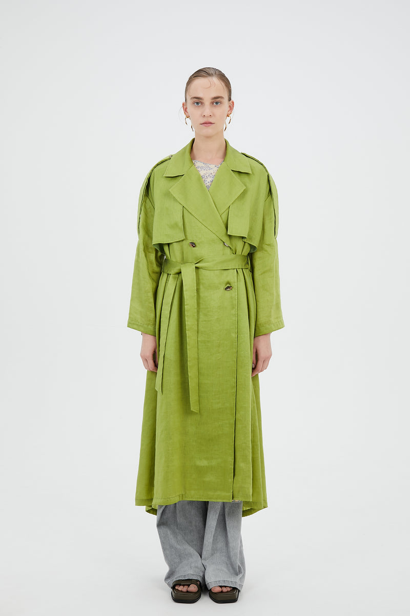 Linen open back trench coat (Bright green)
