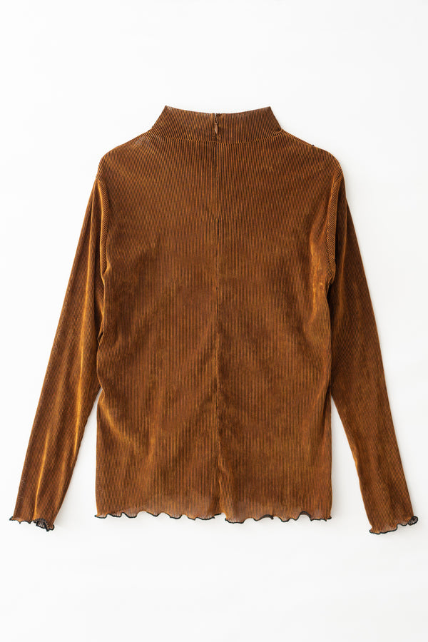 MURRAL flocked stretch top (camel)