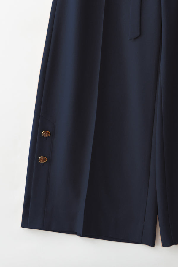 MURRAL Wide trousers with antique shell buttons (Navy)