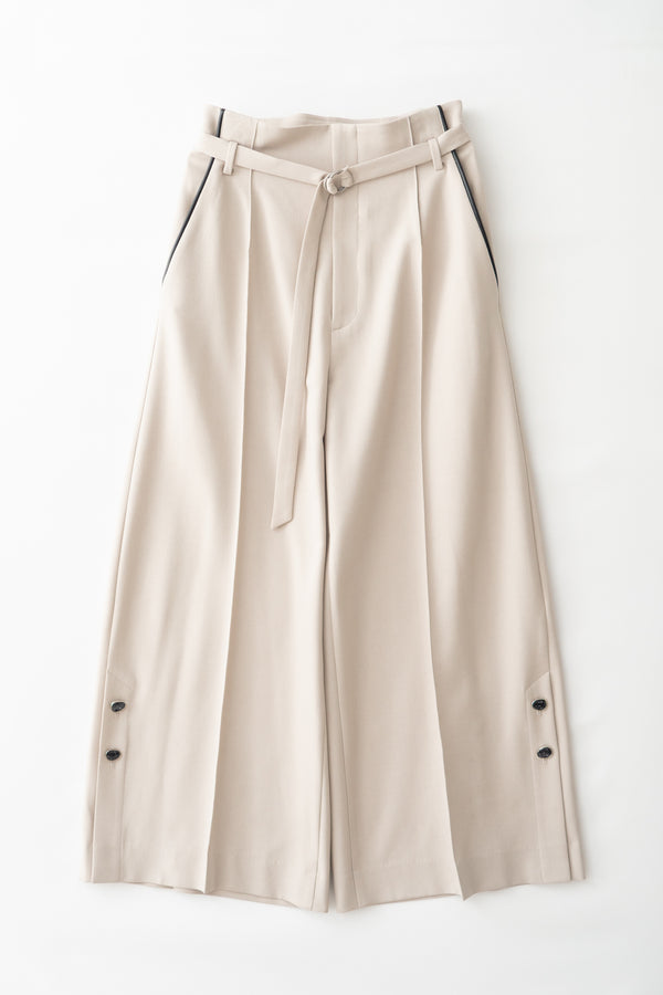 MURRAL wide trousers with antique shell buttons (light gray)