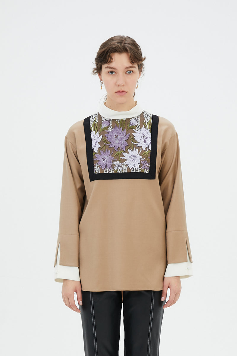 framed flower top (beige)