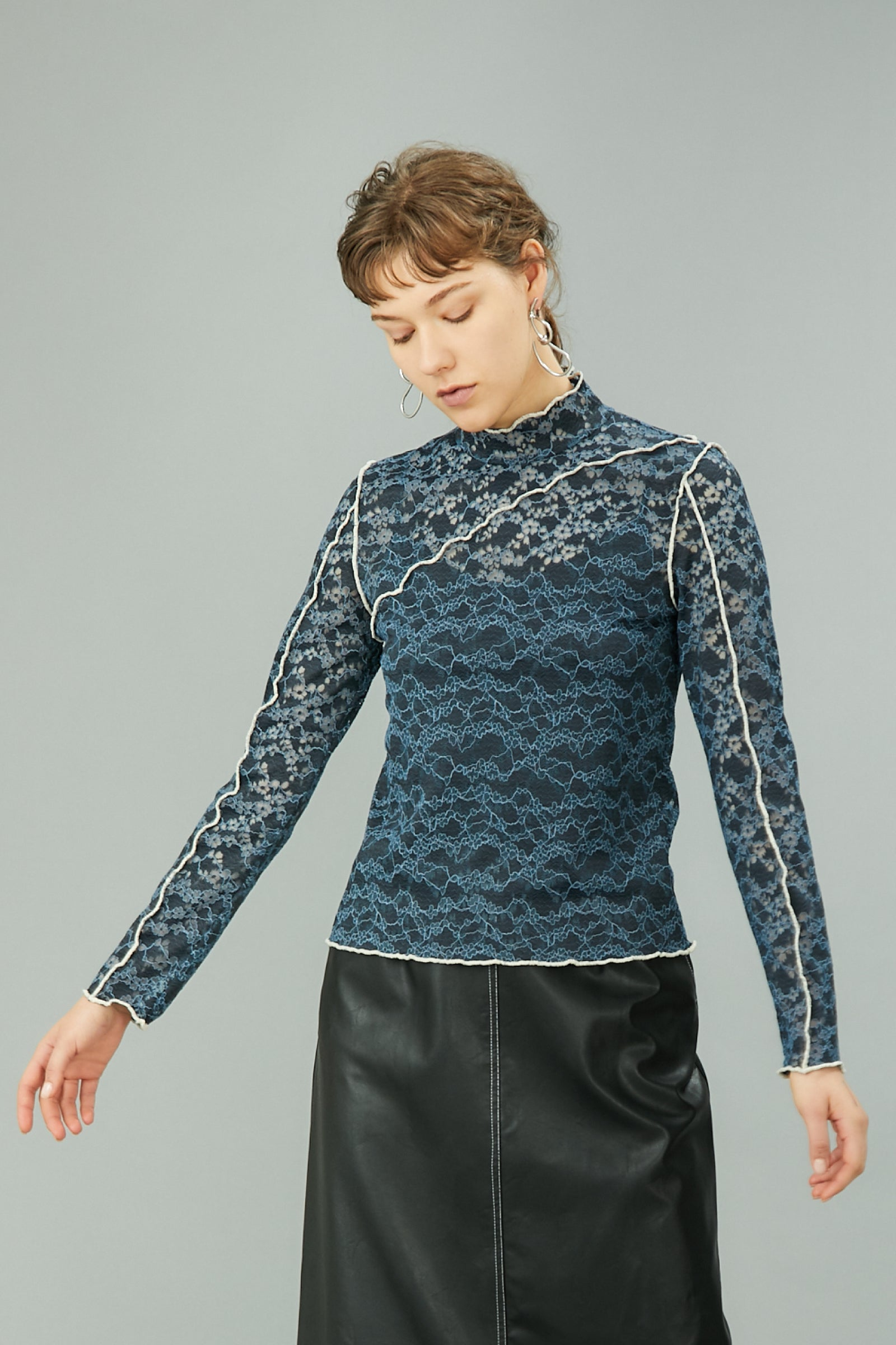 MURRAL stretch lace top (blue)