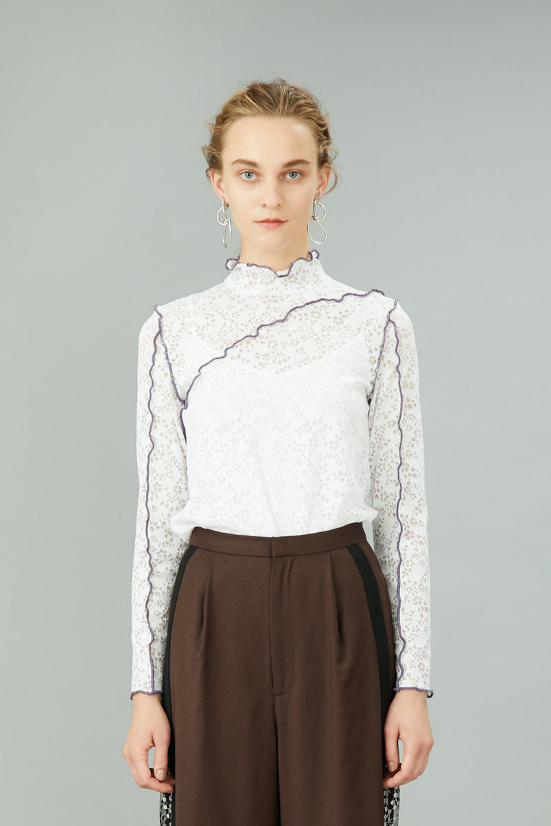 stretch lace top (white)