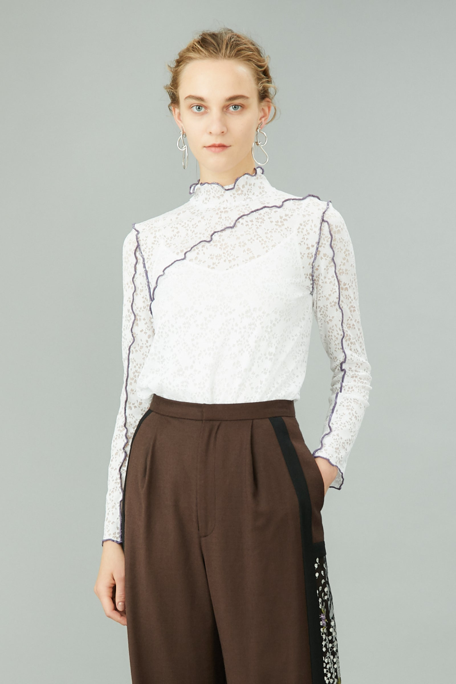 MURRAL stretch lace top (white)