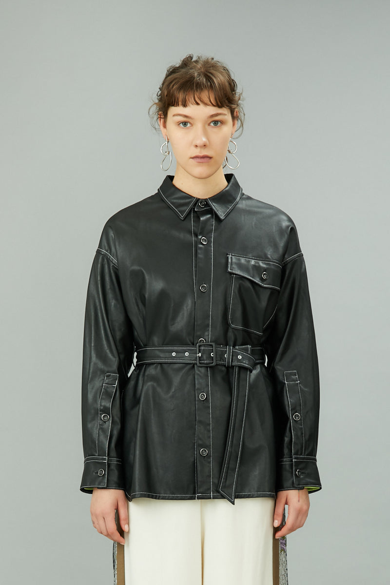 vegan leather shirts with belt (black)