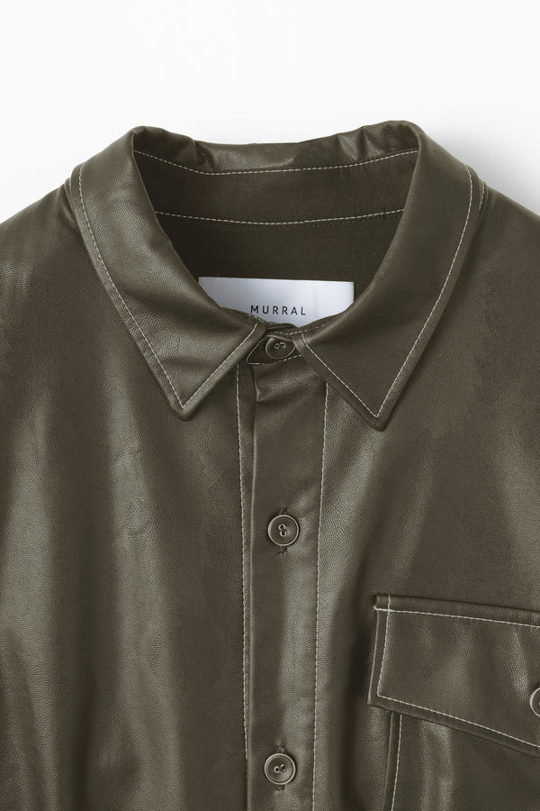 MURRAL vegan leather shirts with belt (khaki)