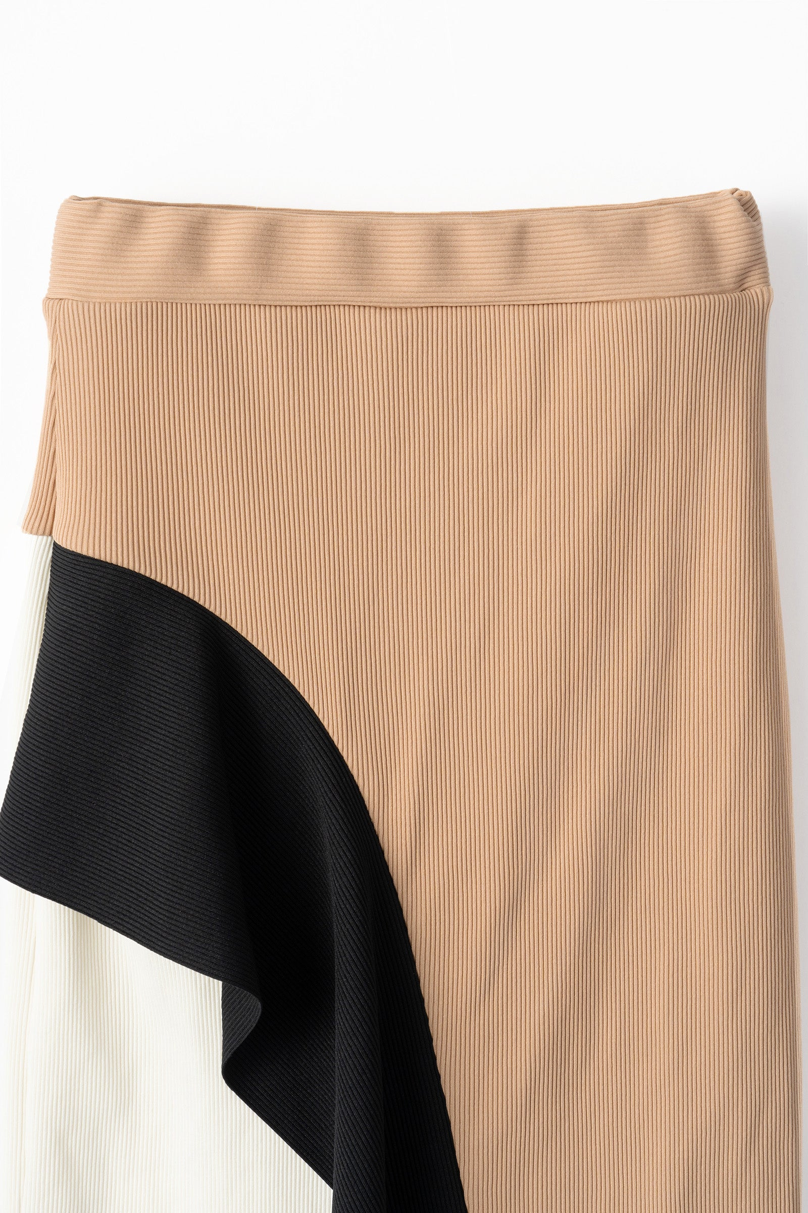 MURRAL bi-color rib skirt (white / beige)