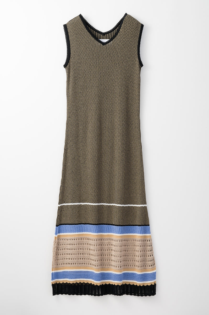 Millefeuille  knit dress (Beige)