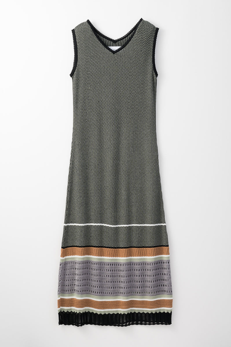 Millefeuille  knit dress (Green)