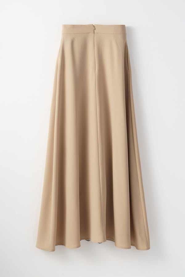 MURRAL Framed flower long skirt (Beige)