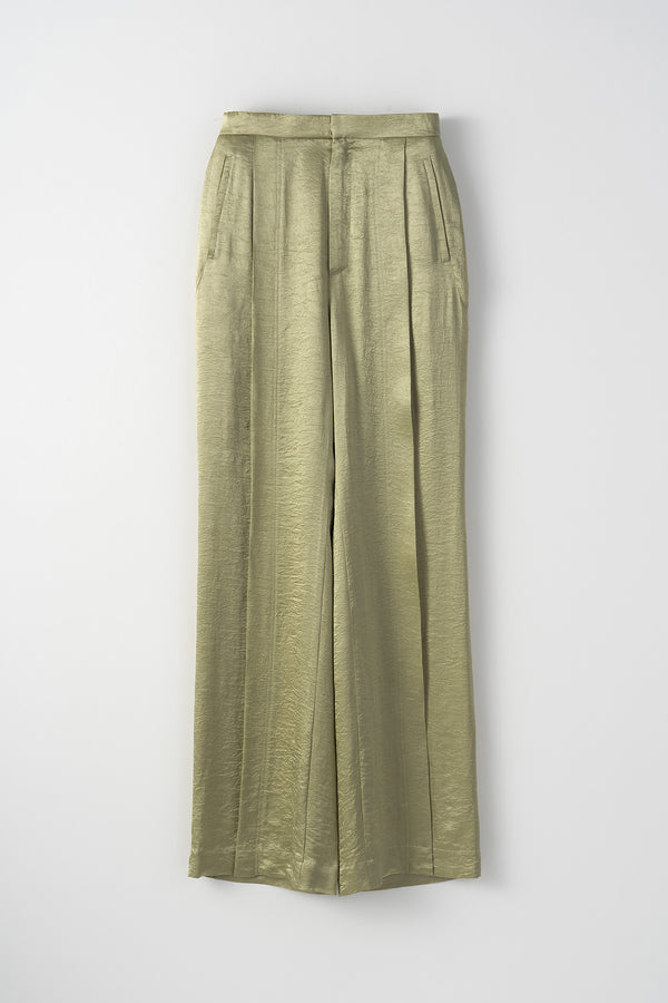 MURRAL wrinkle wider trousers (light green)
