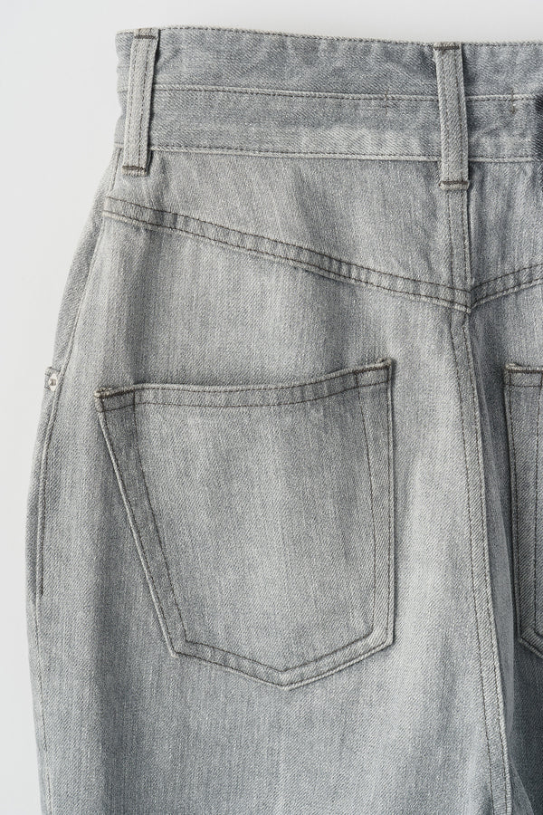 MURRAL Washed  flare tuck denim (Gray)