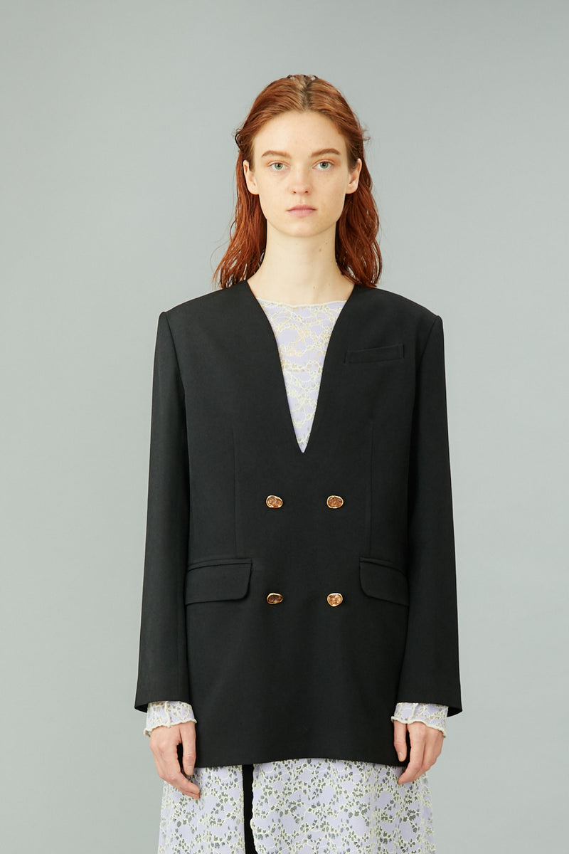 pullover blazer with antique shell buttons (black)