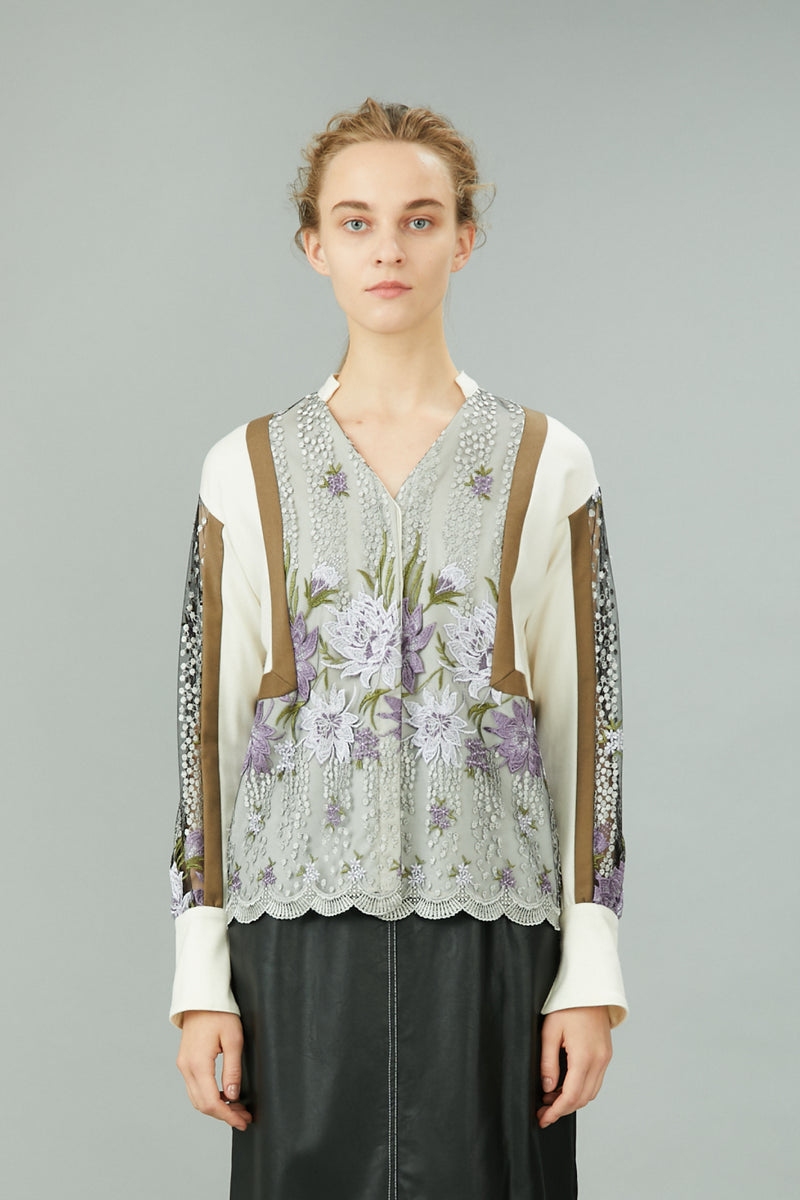 framed flower blouse (white)
