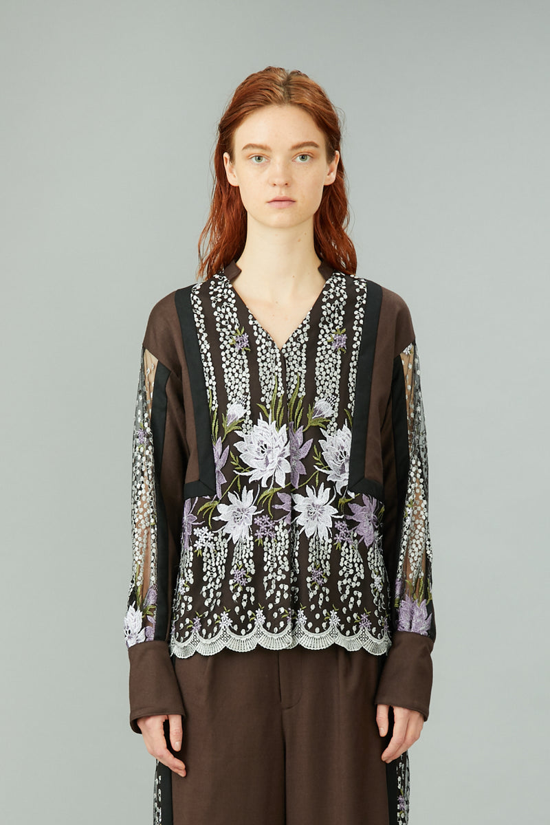 framed flower blouse (brown)