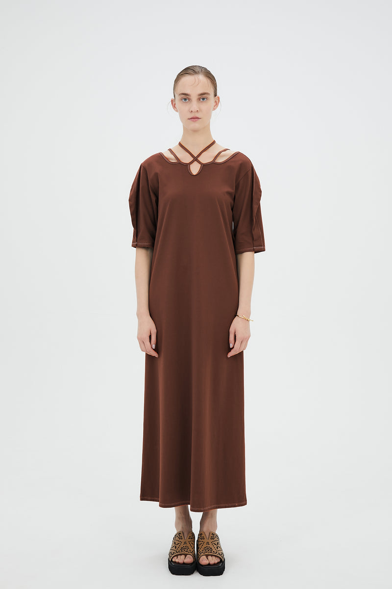 Ivy halfsleeve dress (Cacao)