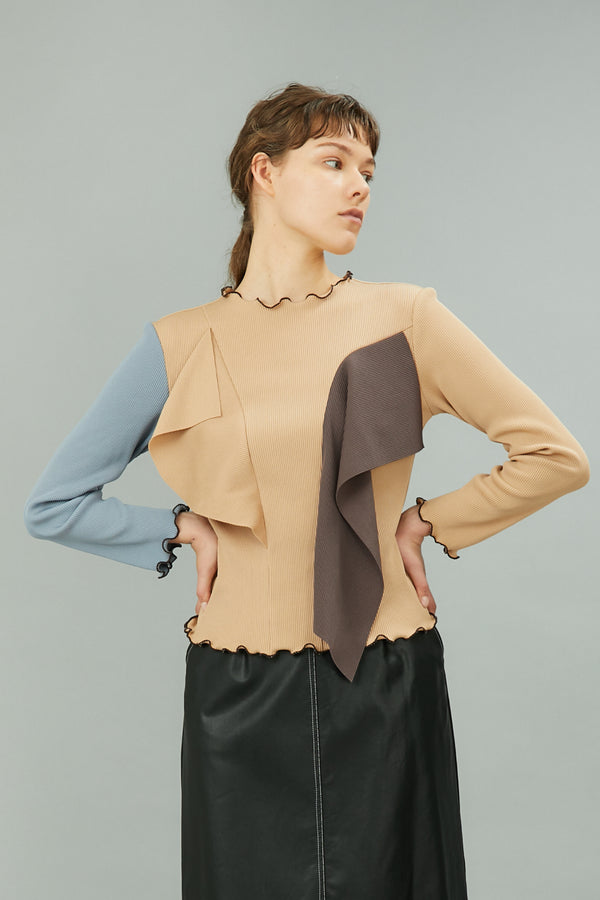 MURRAL bi-color panel rib top (beige / light gray)