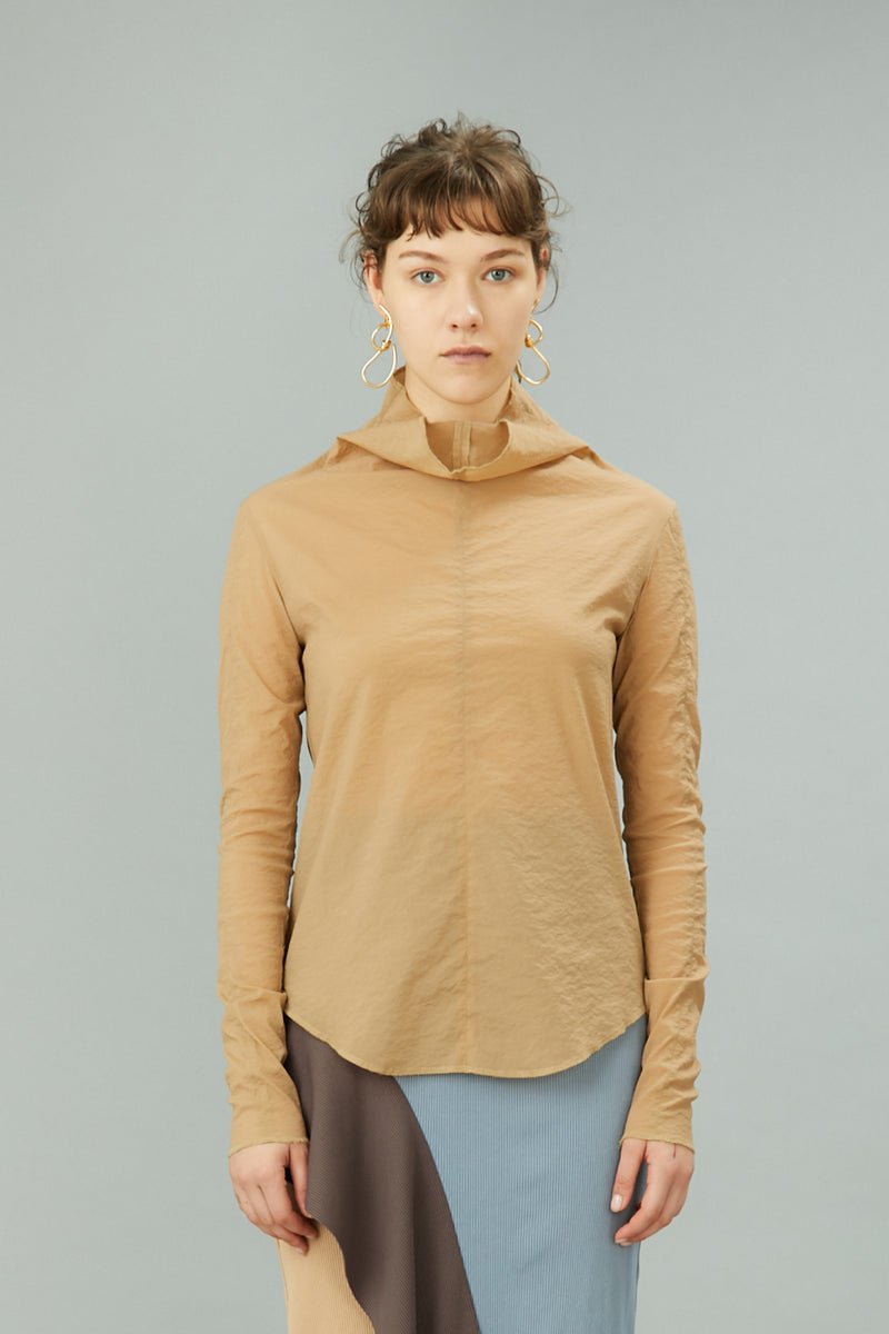 stretch sheer top (beige)