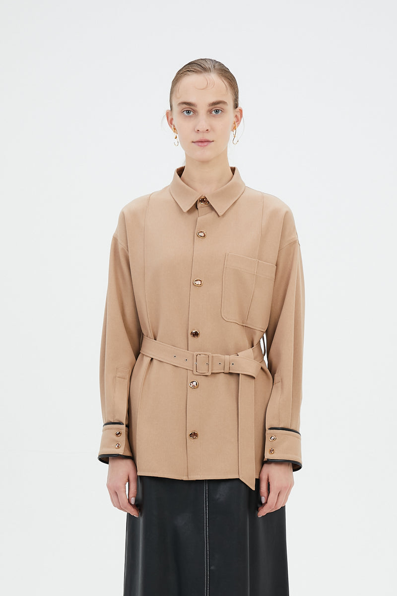 oversized shirt with antique shell buttons (beige)