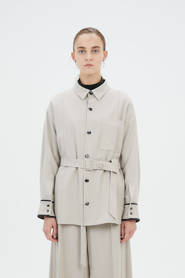 MURRAL Oversized shirt with antique shell buttons (Light gray)