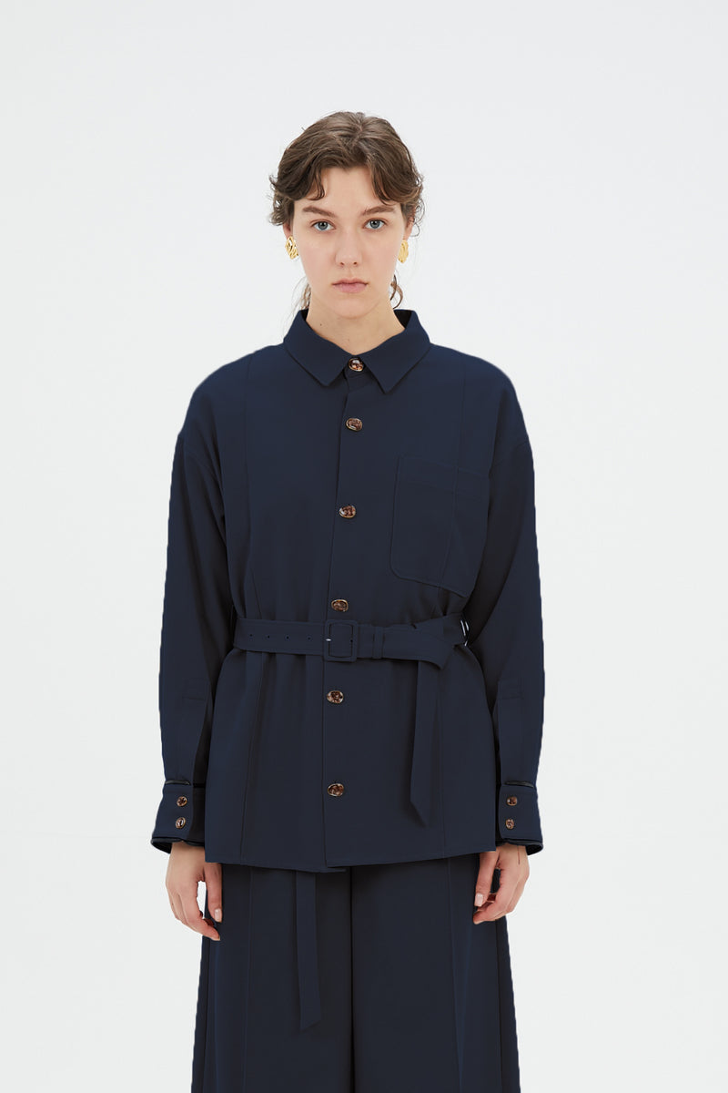 oversized shirt with antique shell buttons (navy)
