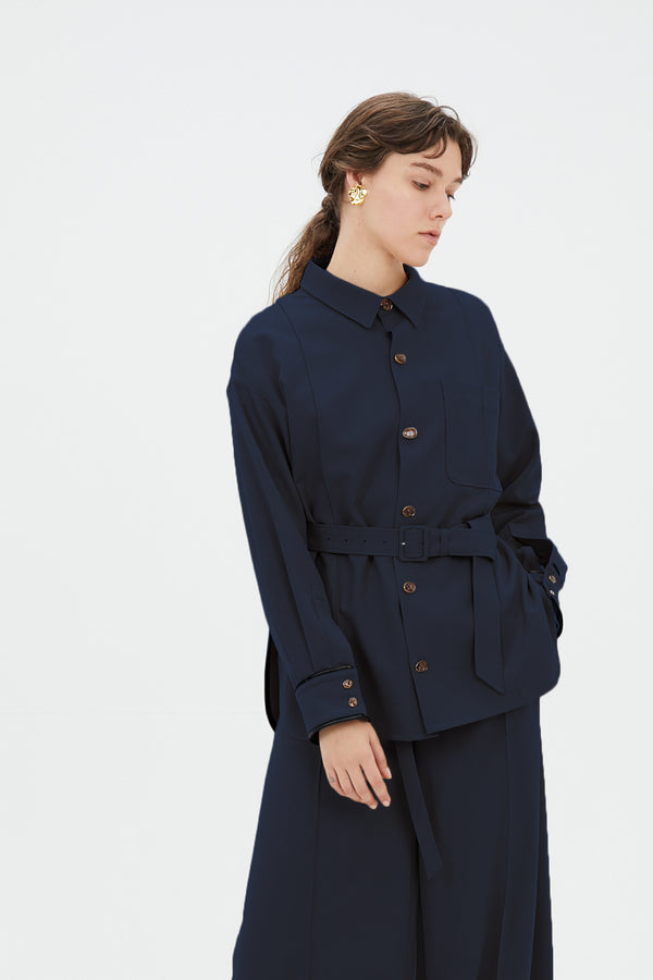 MURRAL Oversized shirt with antique shell buttons (Navy)