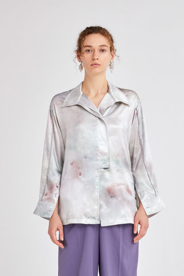 MURRAL candle print slit shirts (green)