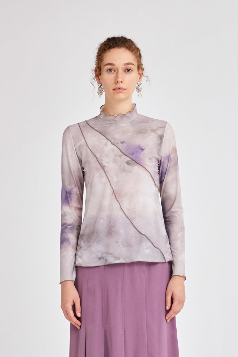 candle print sheer top (purple)