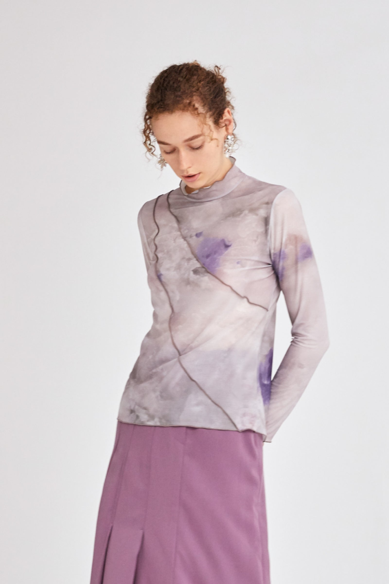 MURRAL candle print sheer top (purple)